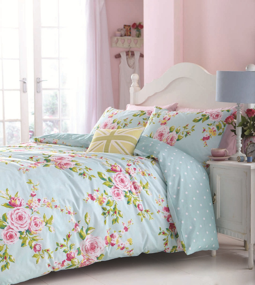 floral bed linen in single double kingsize flowery bedding shabby chic ebay. Black Bedroom Furniture Sets. Home Design Ideas
