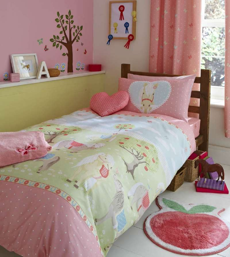 Girls Pony Single Duvet Cover Bed Set Or Curtains Pink
